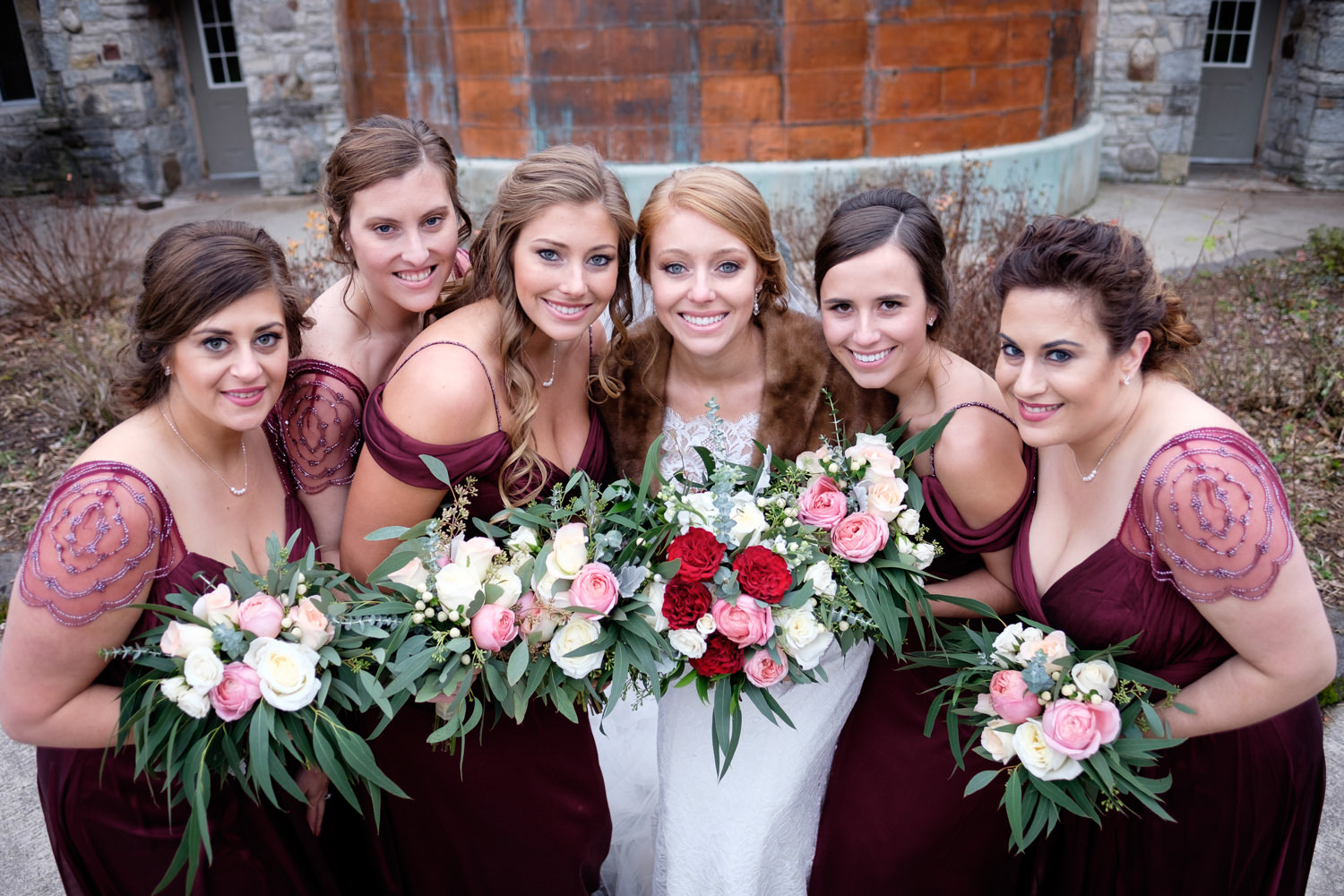 Bride and her bridesmaids at Pamperin Park in Green Bay, WI.