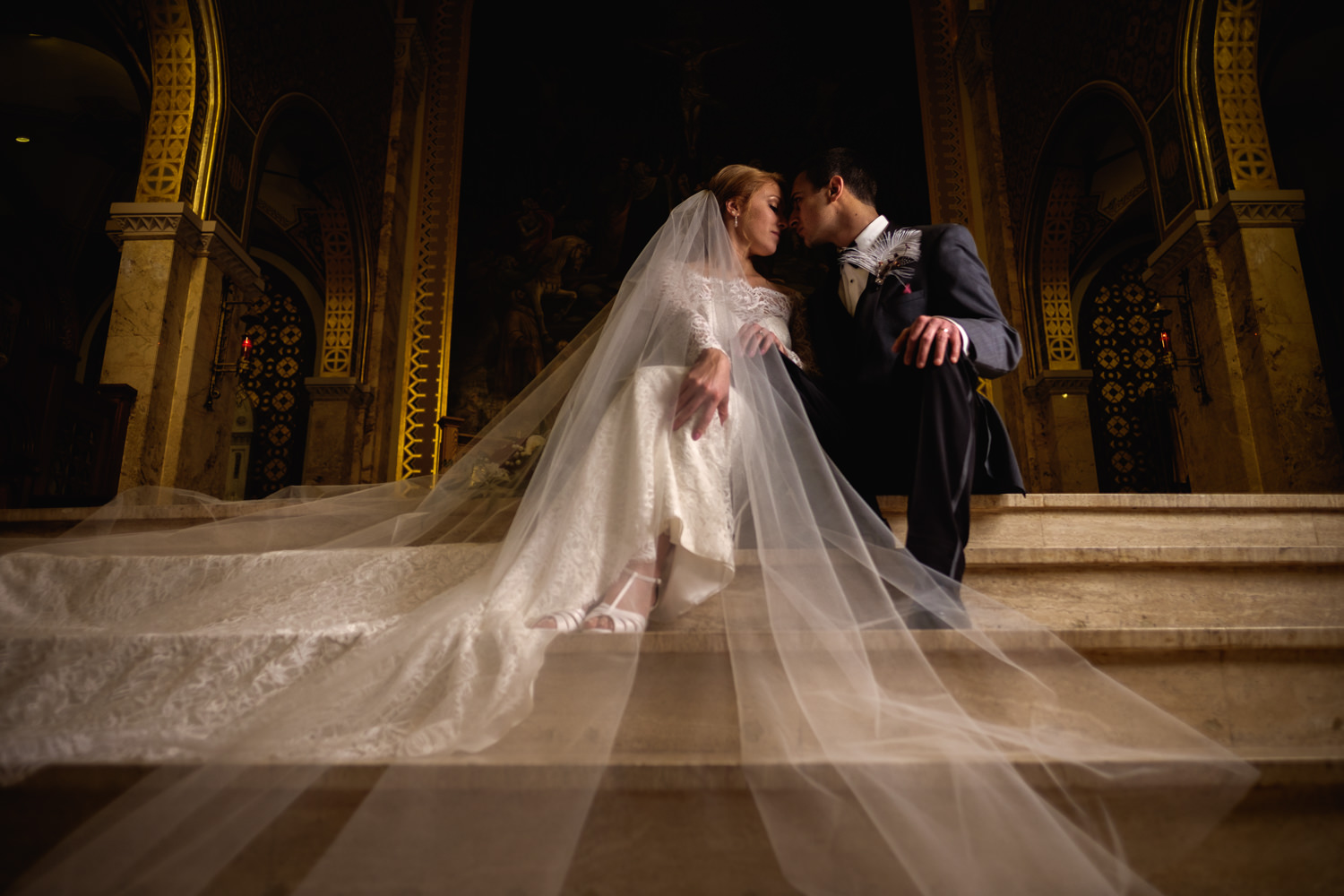 Creative portait of the bride and groom at St. Francis Xavier Ch