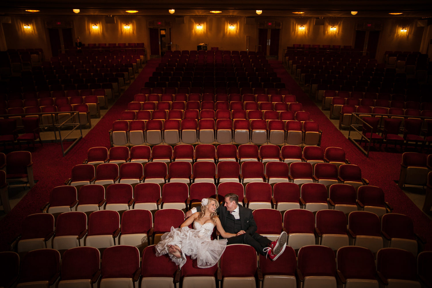 Wedding portrait in The Grand Theater in Wausau.