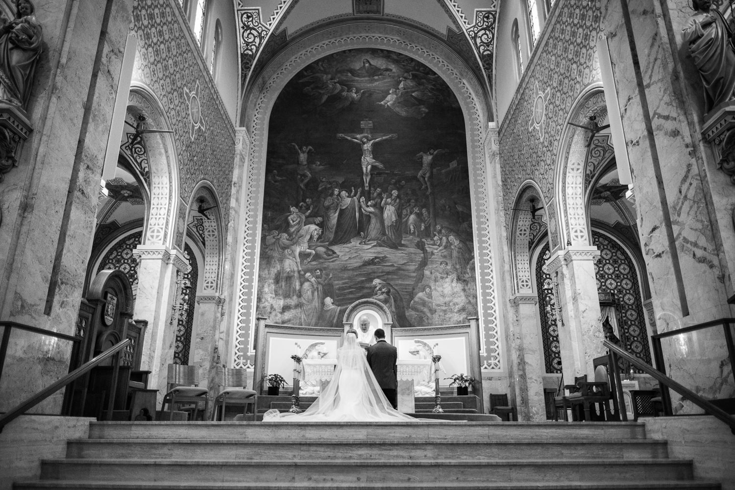 Wedding ceremony at St. Francis Xavier Cathedral in Green Bay, W