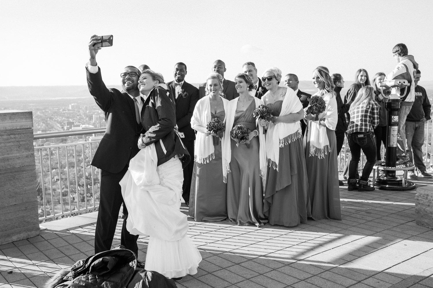 Wedding party selfie on the bluff in La Crosse, WI.