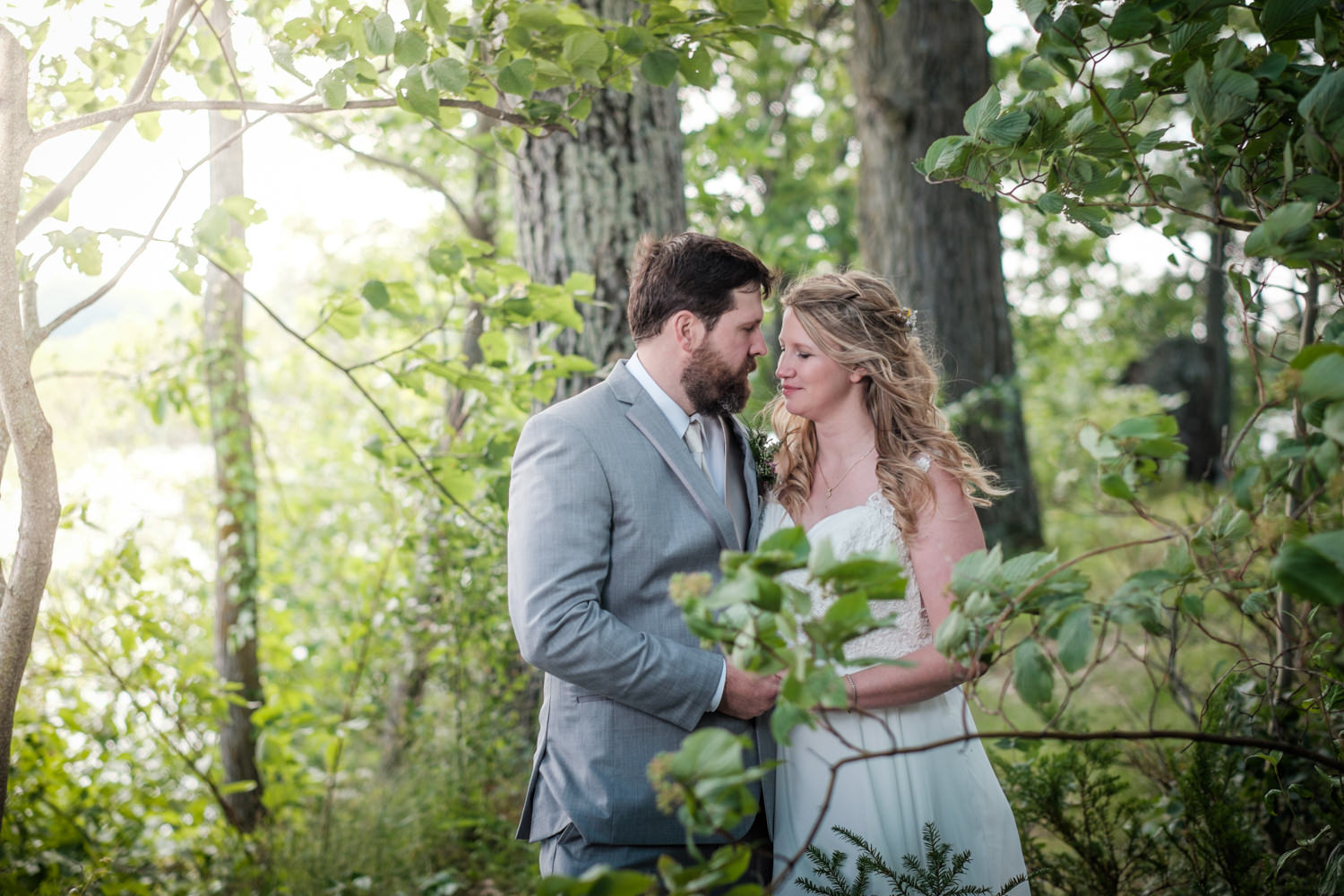 Bride and groom portraits at Stout's Island Lodge in Northern Wi