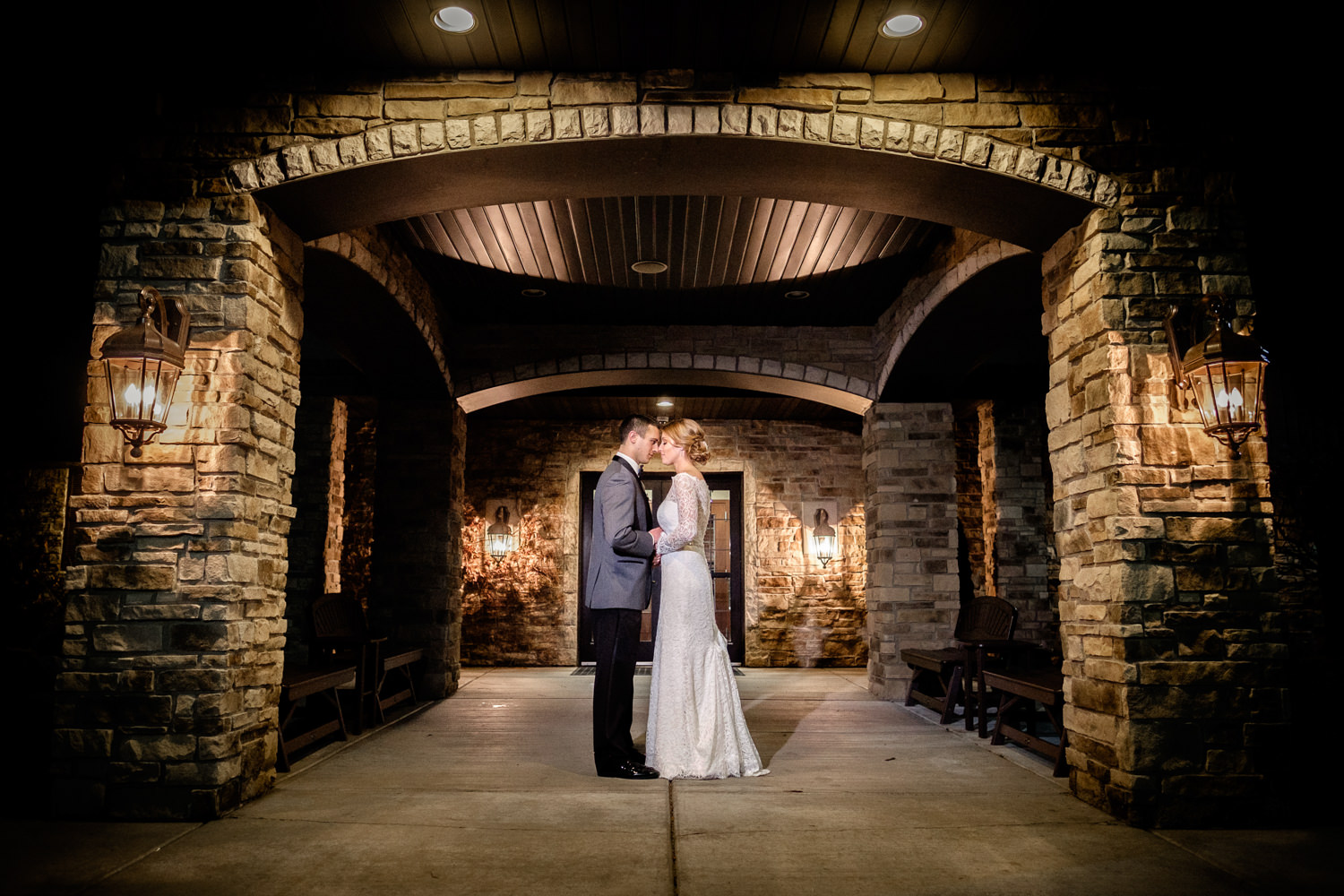Creative night time wedding portriat at The Marq in Green Bay, W