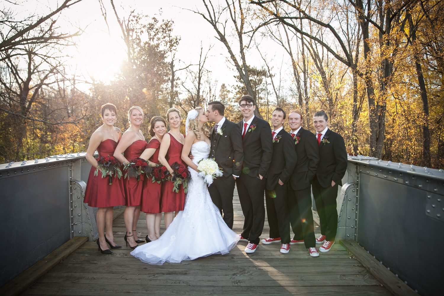 Wedding party portrait at a park in Wausau, WI.