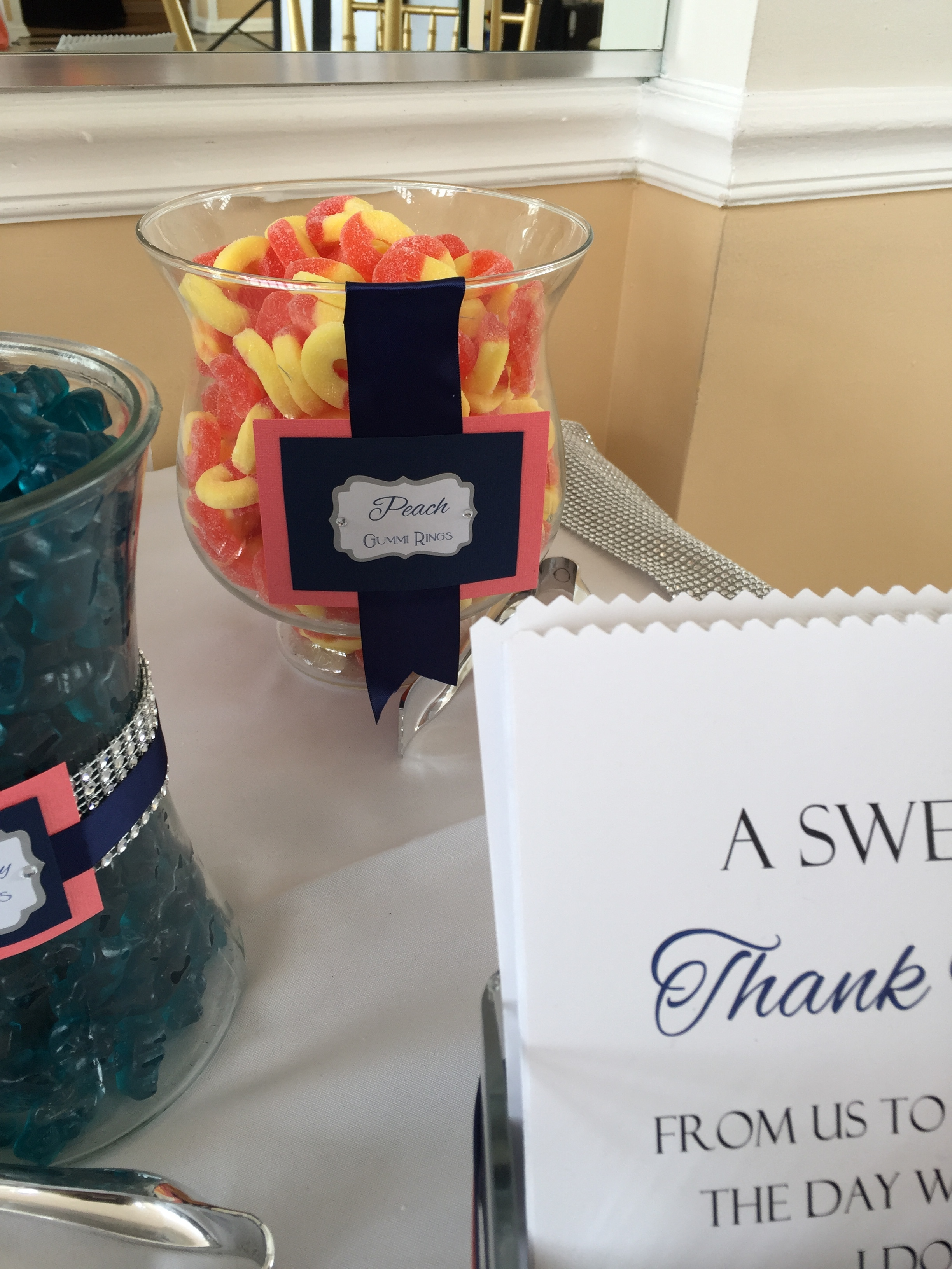 Navy and Coral Candy Table