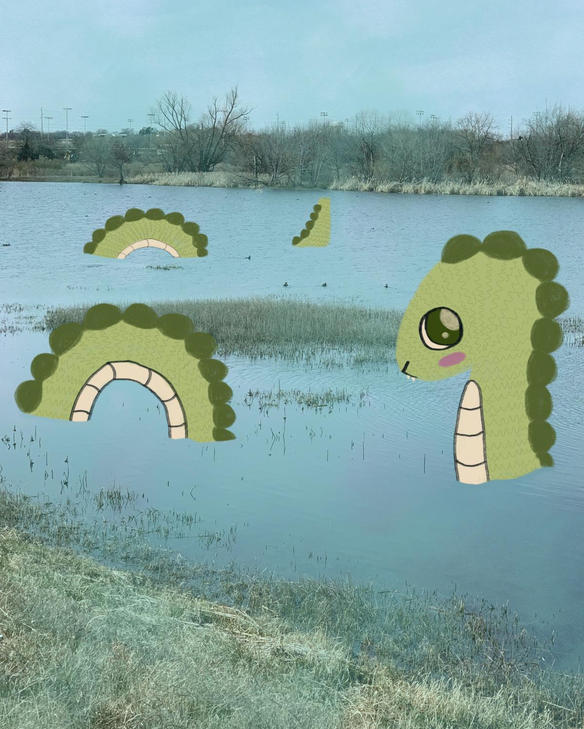 A shy lake monster.