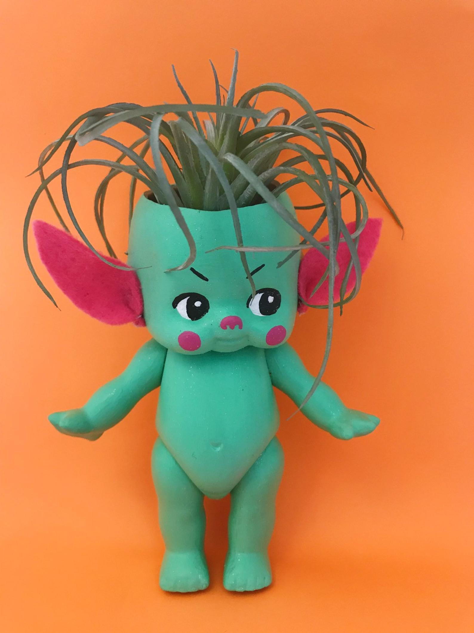 Pink + Green Alien Kewpie Planter