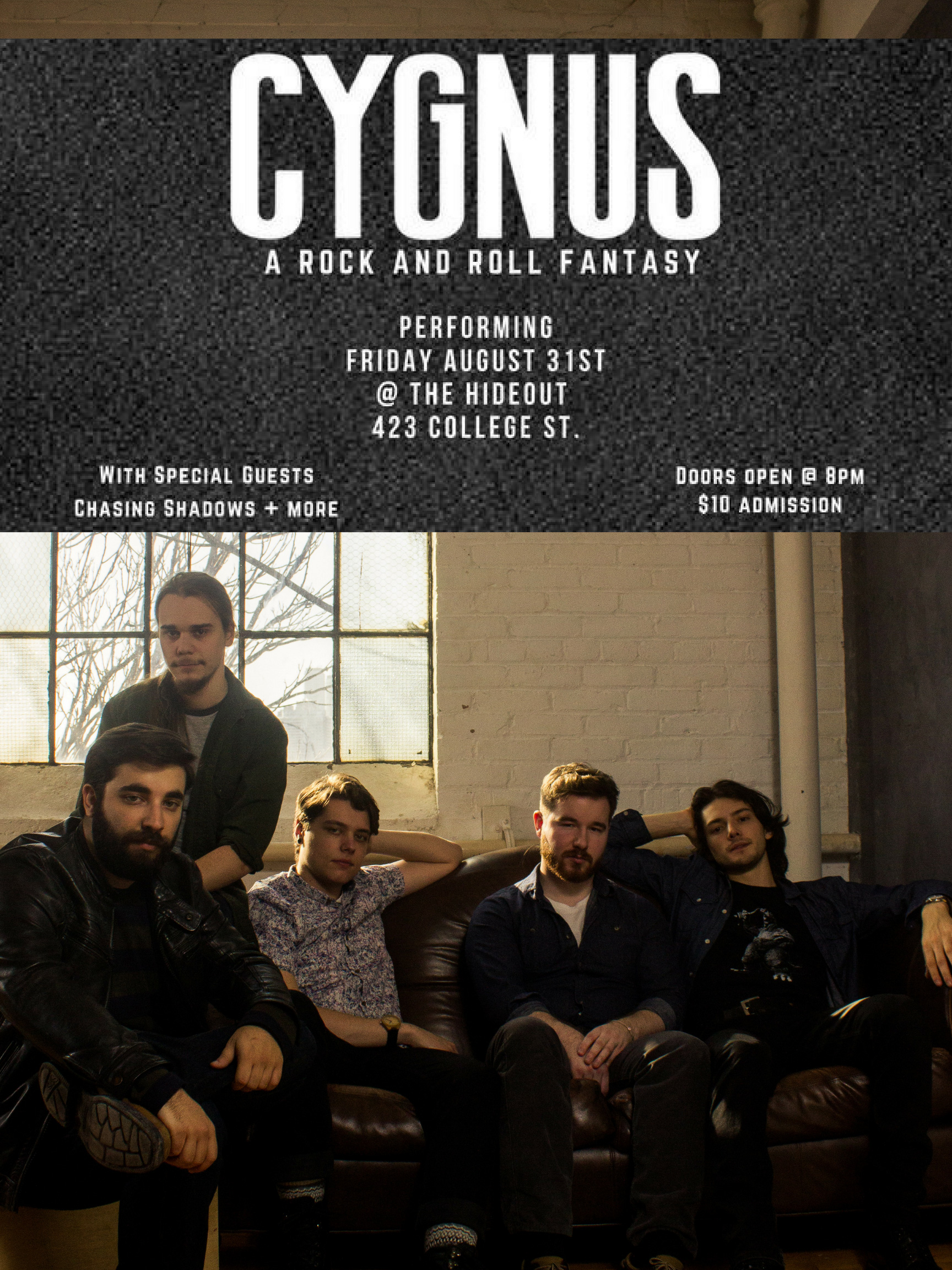 A show that promises to be a dramatic end to the summer. Toronto rock group, CYGNUS return to The Hideout with new music and surprise guests.  https://www.facebook.com/events/2214861965221019/