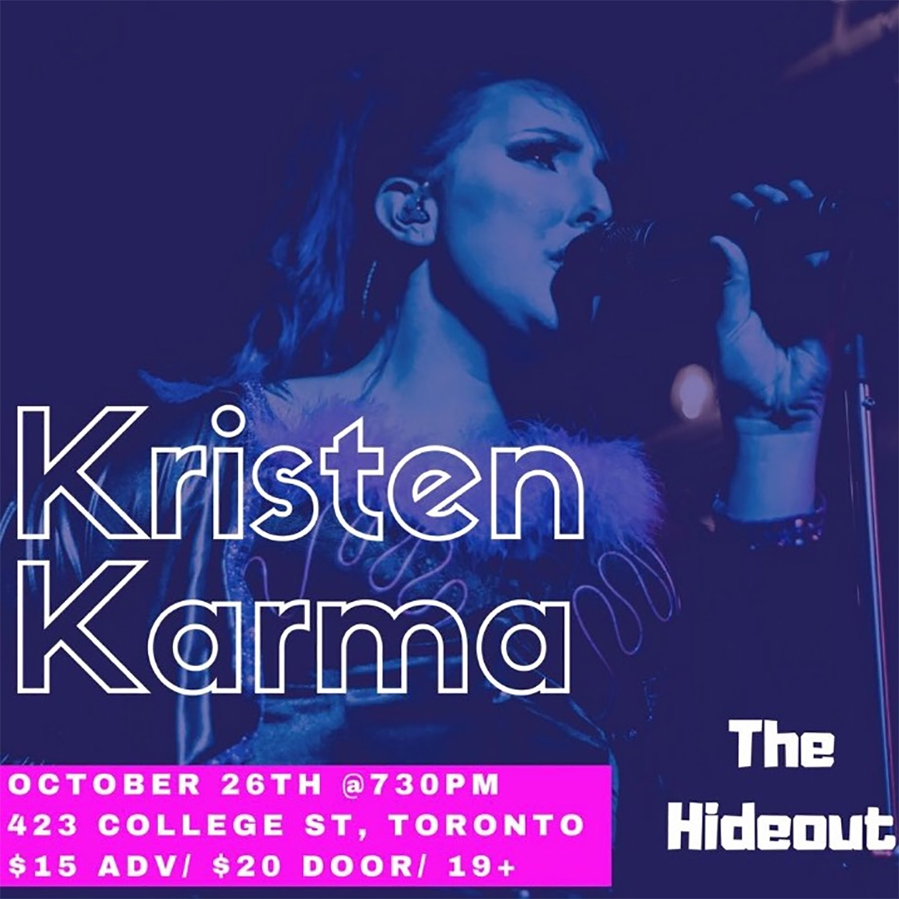 Come celebrate Kristen Karma's Dirrty Thirty Birthday Bash in Style at the Hideout on October 26!  Since Halloween is right around the corner, costumes are encouraged!  --  PERFORMANCES BY:  Kristen Karma  http://www.facebook.com/kristenkarmaofficial   Uforia  https://www.facebook.com/uforiaband/   Like Satellites  https://www.facebook.com/likesatellitesband   --  Tickets: $15 Adv/$20 Door  423 College Street, Toronto ON  Facebook Event:  https://www.facebook.com/events/174750660030951/