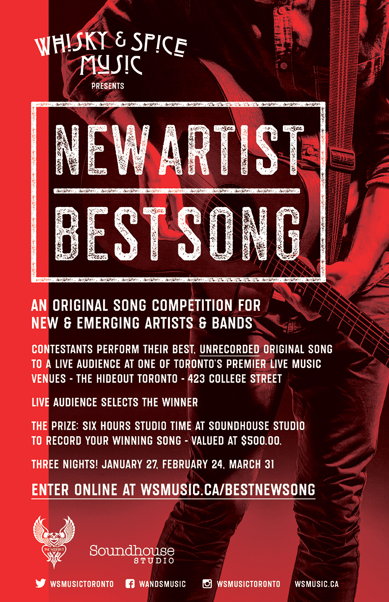 Come down to the @thehideouttoronto tonight for the first show of our New Artist, Best Song contest. We have six artists/bands performing for a chance to win 6 hours of studio time to record their winning song! Audience selects the winner via online voting. Super cool fun!  https://www.facebook.com/WandSmusic/