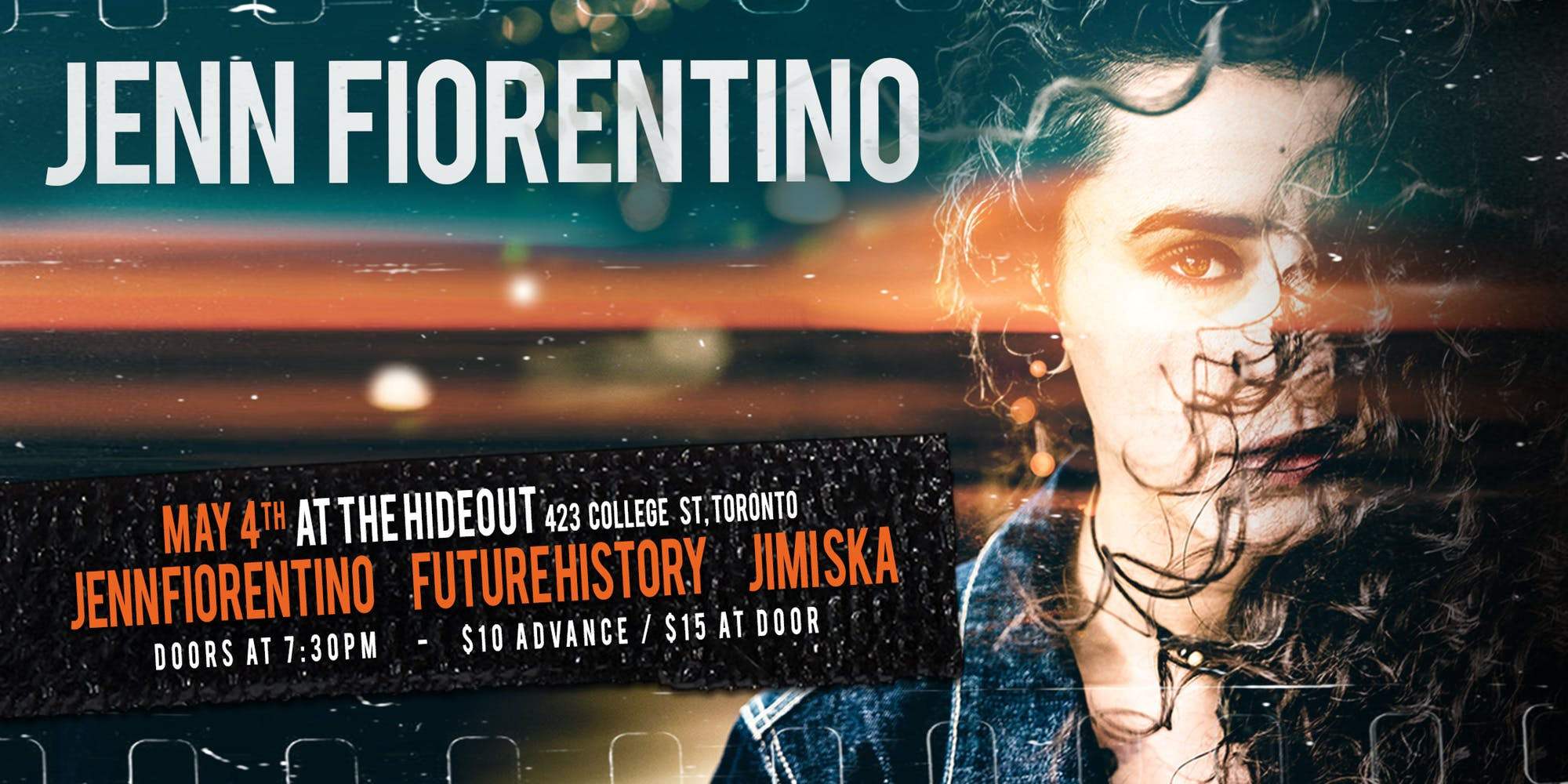 Join Jenn Fiorentino and her special guest performers, as she releases her brand-new album SURVIVE at The Hideout on Saturday, May 4!  Jenn's supporting acts Jimi Ska and Future History will perform their amazing songs before Jenn and her full-band introduces SURVIVE to the world in the heart of downtown Toronto.   Be sure not to miss celebrating this unforgettable evening with Jimi Ska, Future History and Jenn Fiorentino, along with all of our friends and family!  COME HANG OUT WITH JENN FIORENTINO!!!!!!!!!