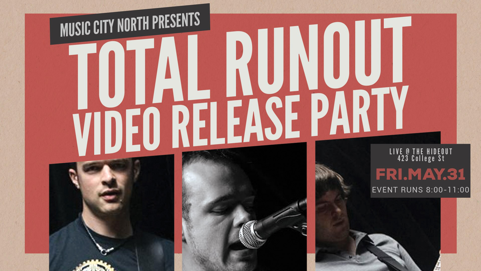 Relatively new to the scene,  Total Runout  are starting with an impact!   Join us May 31 for a Video Release Party at  The Hideout Toronto   Doors 8PM Cover $10  We've got a couple of cool things up our sleeves for the night...including... BINGO! In between sets, we are going to have a game of Came to Win Bingo with a prize pack and a cash prize.   The first 25 people will receive a BINGO card After that, it's a $5 buy in. Win and you receive all the cash PLUS the CAME to win prize pack...will post pics of the fun prize pack  The person calling the numbers:  Thrasher Burlyque  who will also be doing a Burlesque routine for y'all!!    Total Runout  (Toronto)  https://www.totalrunout.com/    Parasona  (Toronto)  https://www.parasonaband.com/   Make sure to support the artists/venue ... come for the beginning and stay to the end to be part of this night that is going to be filled with excitement! DO NOT MISS THIS! \m/ __________________________________