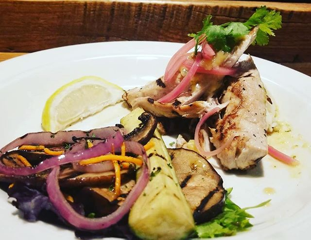 FRIDAY'S CATCH:  Fresh, wild caught #Yellowtail Jack!  Pan seared and served with citrus jasmine rice, marinated vegetables, and a pineapple herb sauce.  Get it while it lasts! #Lafayette #Colorado #realfood #realfresh #Reelfish