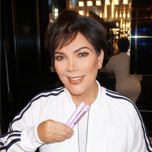 """@krisjenner getting in on dreamy natural lashes. """"Hey, did you guys see the Lash Elixir Kit from @thequeenpegasus that Kim posted last week? For longer and thicker looking natural lashes? I've been using it too and I swear my natural lashes have never looked so good! Apparently they sold out but are now back in stock!"""""""