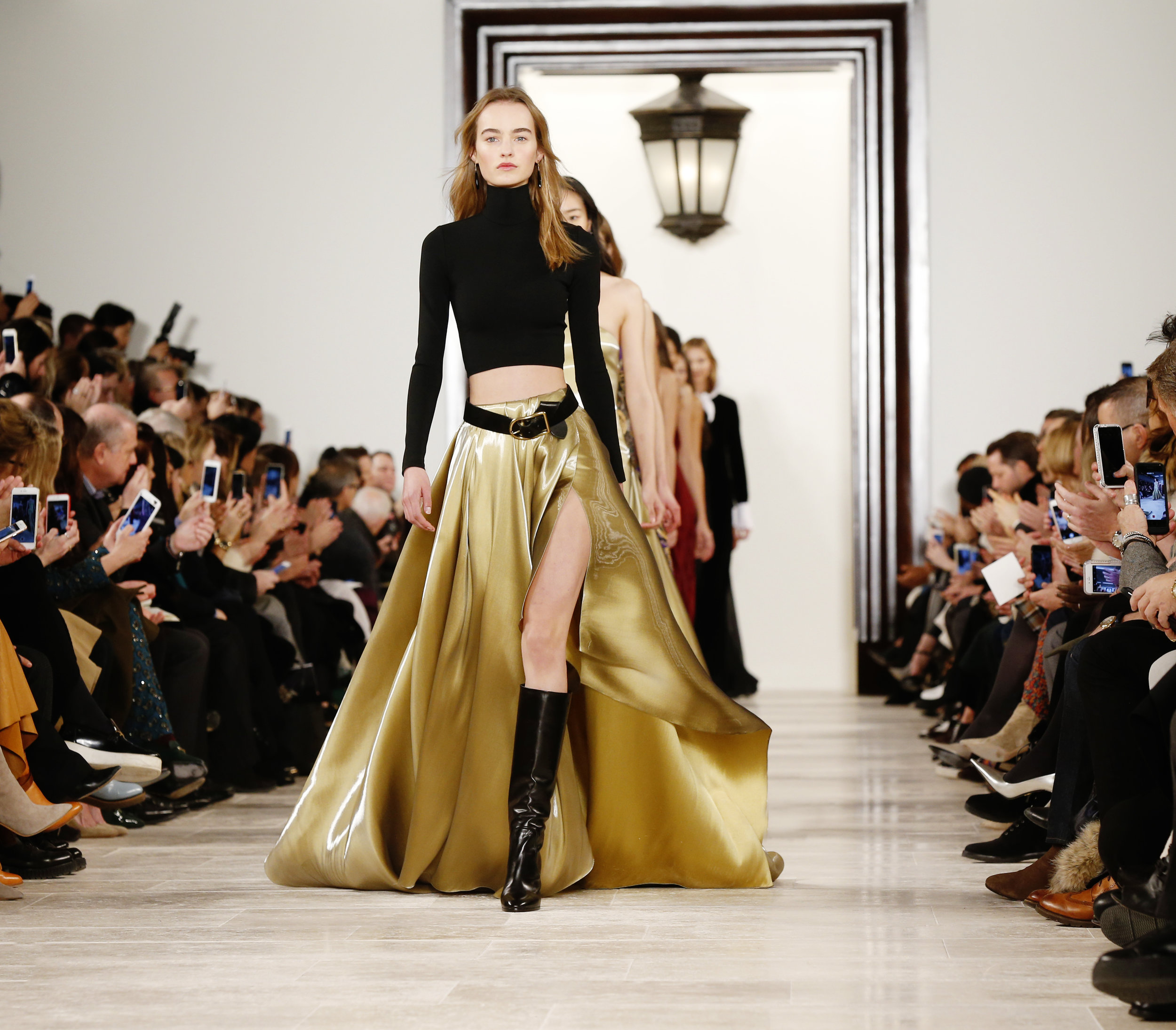 Finale at Ralph Lauren Gold ballSkirt Fall2016
