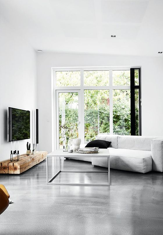 Polished Concrete Floors & White Walls