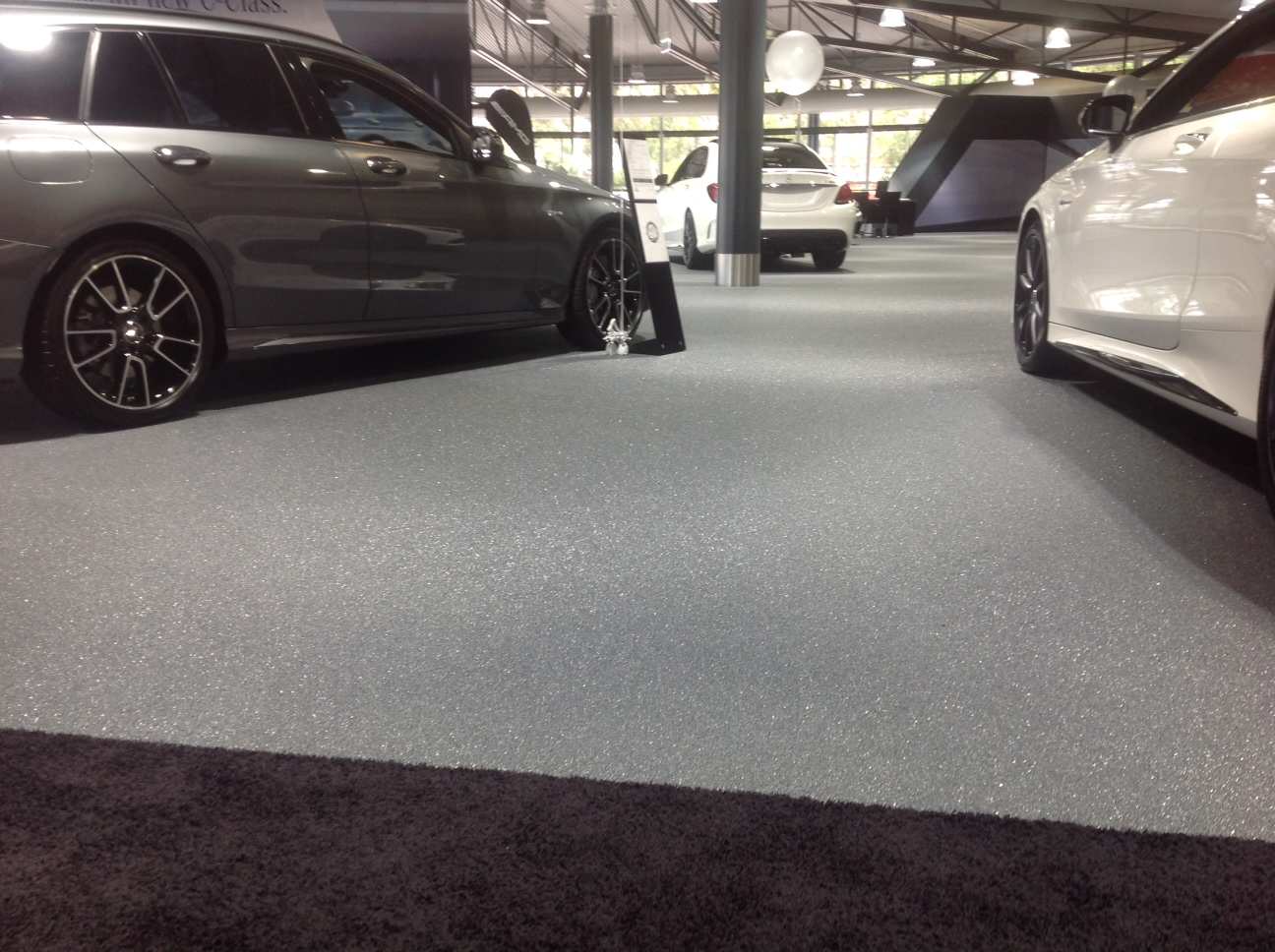 mercedes benz showroom, quartz carpet