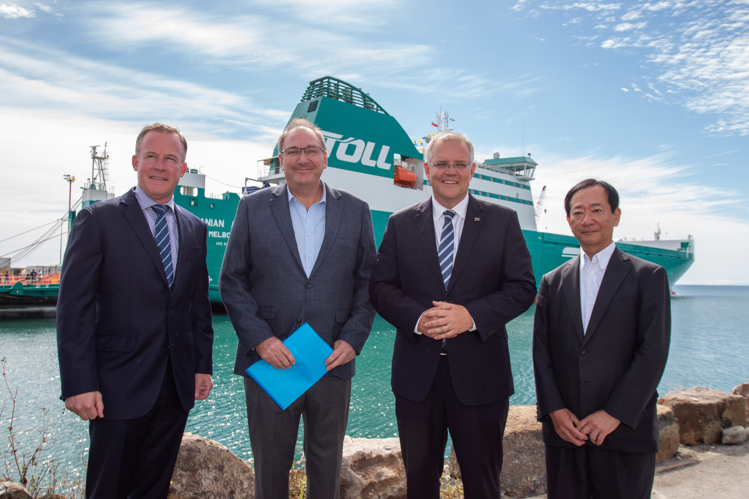 From L-R Will Hodgman, John Mullen (Toll Group), Chairman), Scott Morrison, Taneki Ono (Japan Post First Executive Officer)