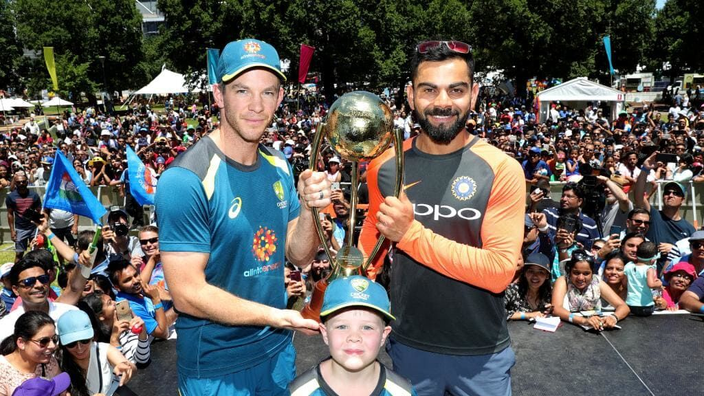 Archie with Virat Kohli and Tim Paine courtesy of Herald Sun