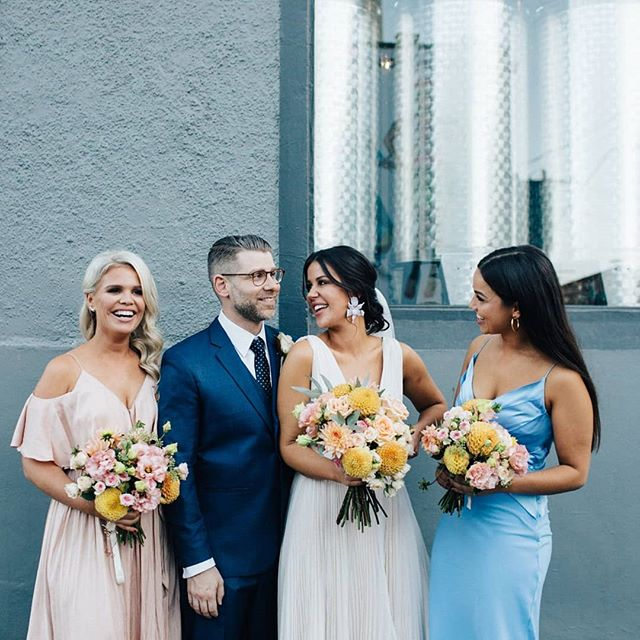 Taking a moment to flash back to Casey and George's gorgeous wedding!!! The stunning bride Casey floated down the aisle adorned by her sister and bestie 🙌 #bridetribe #squadgoals  We love weddings and love that couples are choosing to do it their own way! There's really no rules or boundaries anymore!  Photo // @timothymarriage  Venue // @thecraftandco  Bride's dress // @andreagorriebridalcouture Bouquets // collab between groom's aunty and yours truly . . . . . . . #caseysweddingfeatgeorge #modernbride #modernwedding #weddingparty #wedding #weddingstyle #bridesmaids #thecraftandco #curatedevents