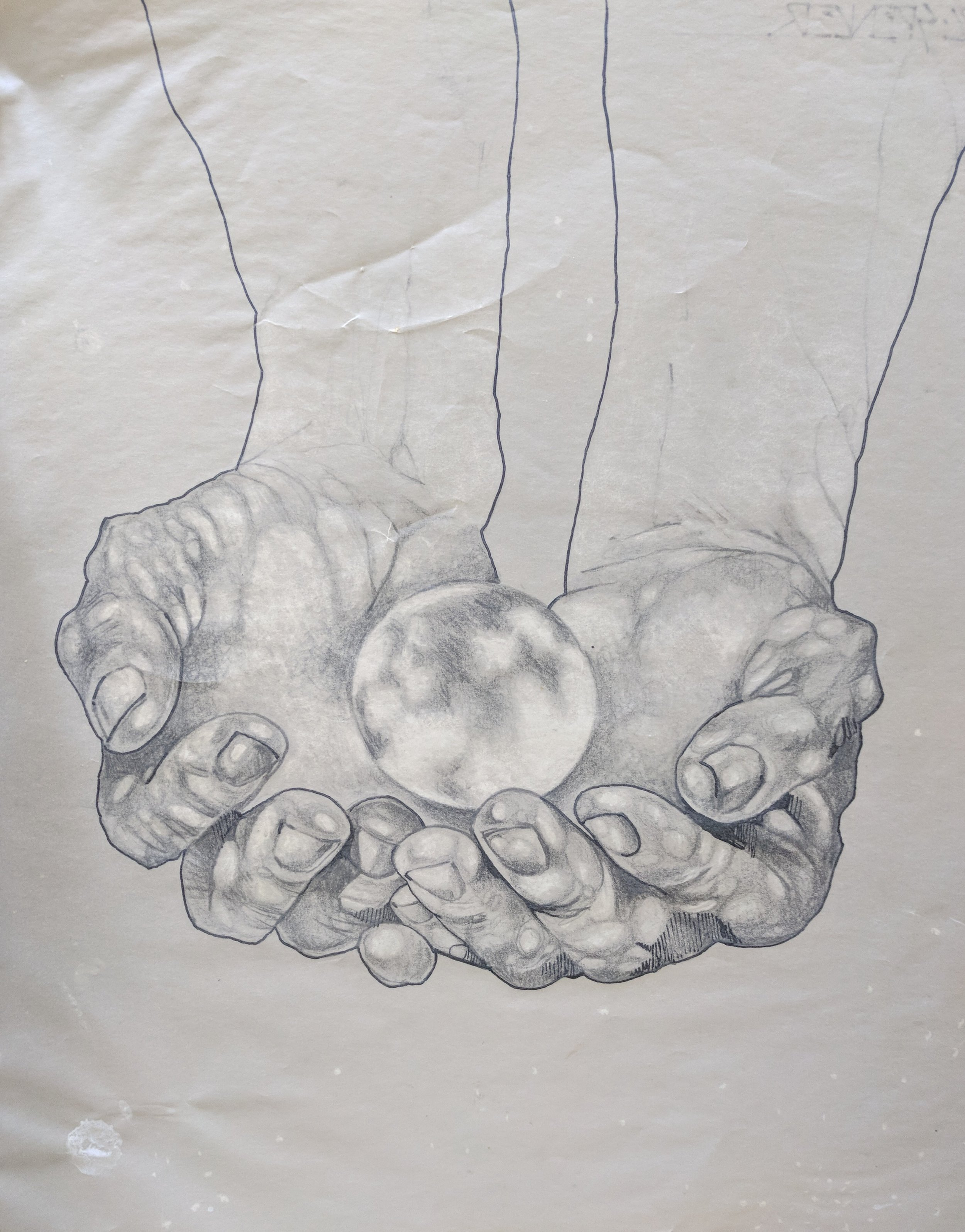 In His Hands. - Graphite and white pencil on transfer paper.Peter C. Spencer original hand-drawn illustration. Biblical imagery. Property of Peter C. Spencer (c).