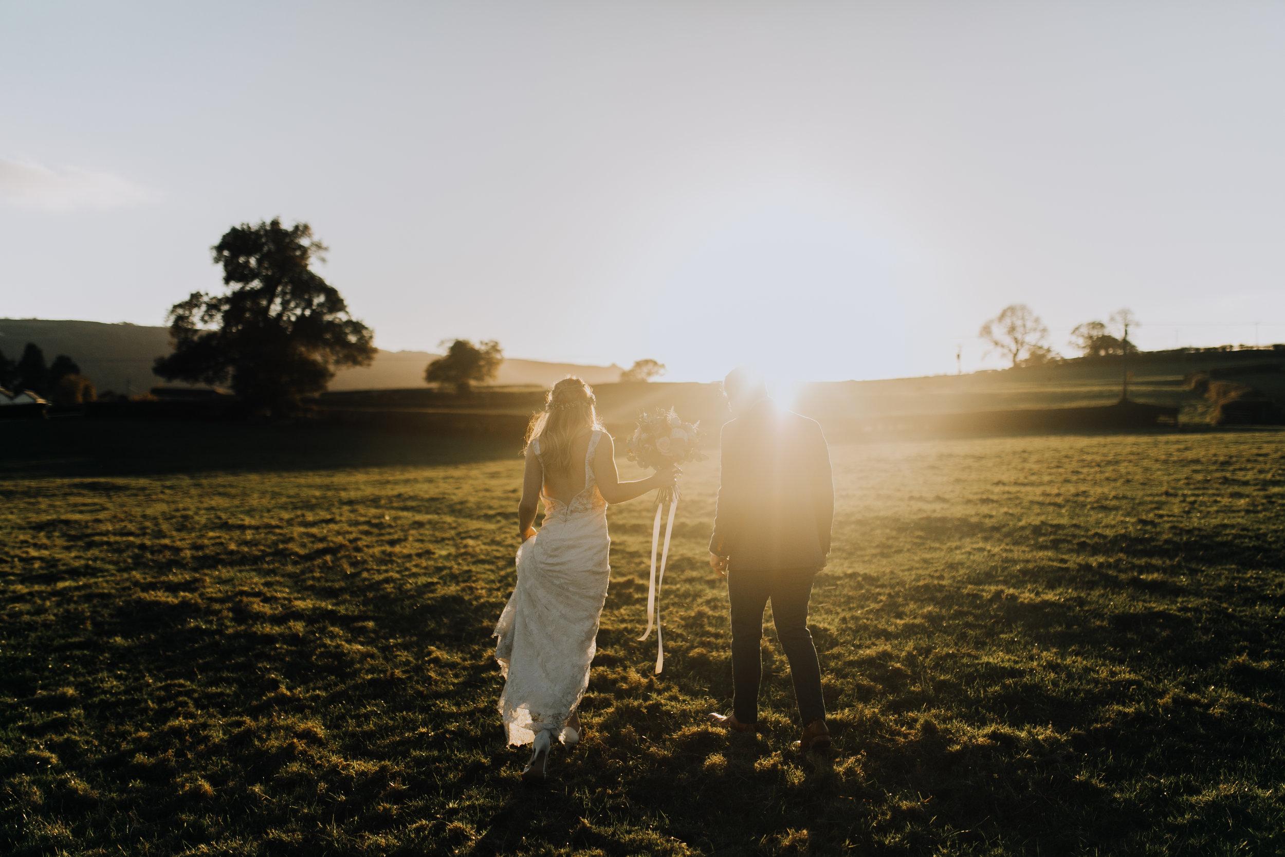 A sunset barn wedding at Tower Hill Barns - Llangollen