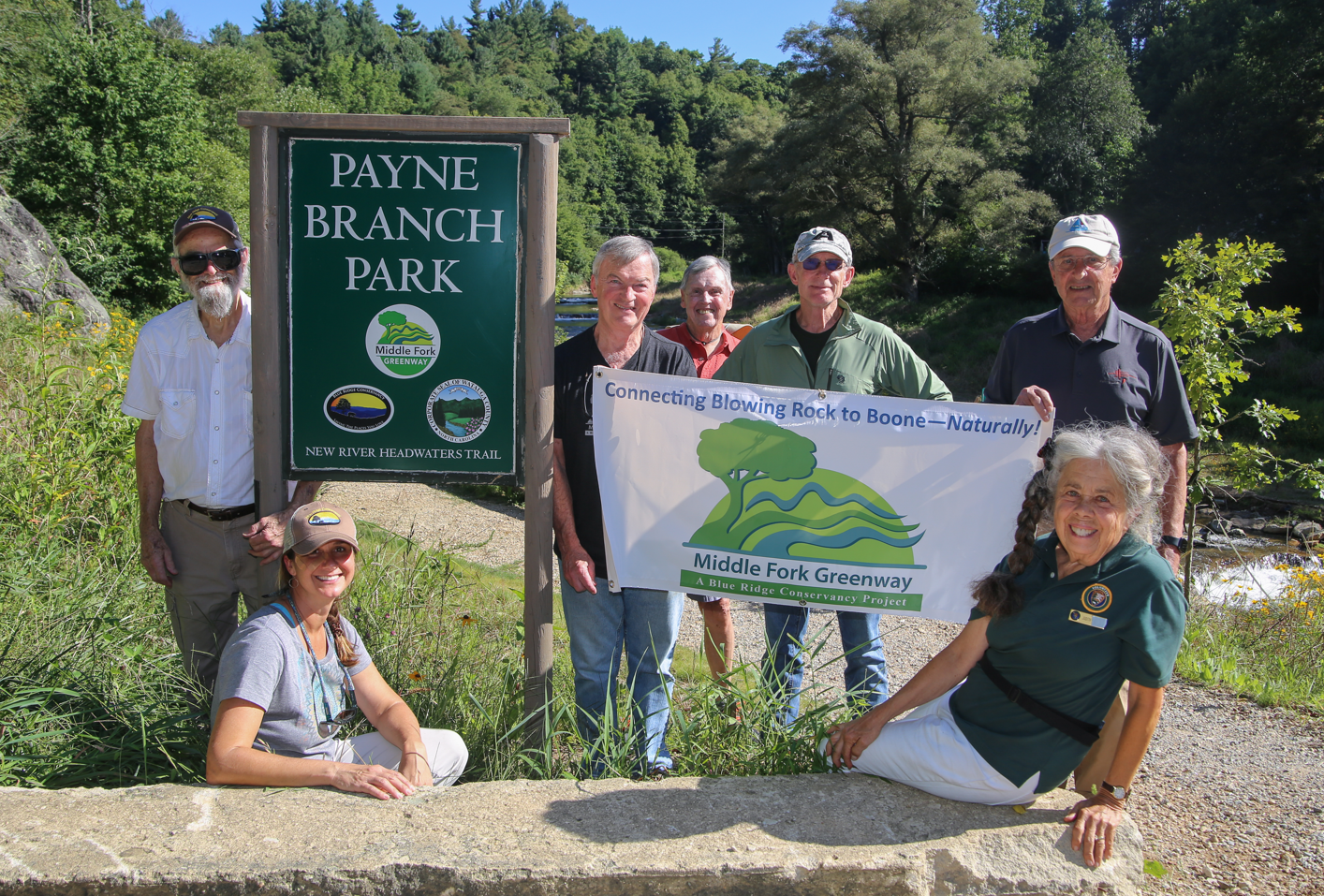 L-R: Middle Fork Greenway task force members Ben Edwards, Wendy Patoprsty, Doug May, Bill Hall, Lance Campbell, Mike Page, Judith Phoenix