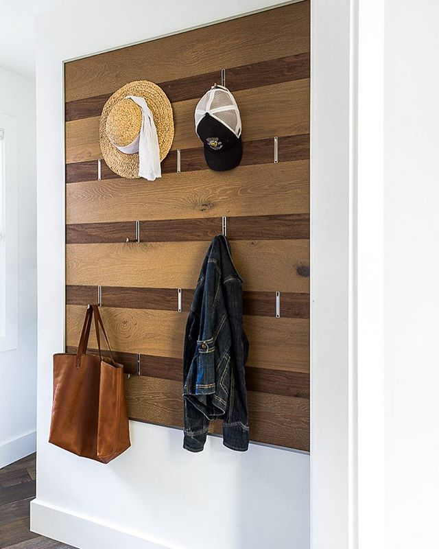 Our custom hook wall in action in its California home. Form follows function! (Photo cred @daviddlivingston) #mudroom #interiordesign #interiors #artwall #hookwall #pursuepretty #formfollowsfunction #lovethehomeyourewith #remodel #remodeling #remodeler #custom #details #wood #woodwall
