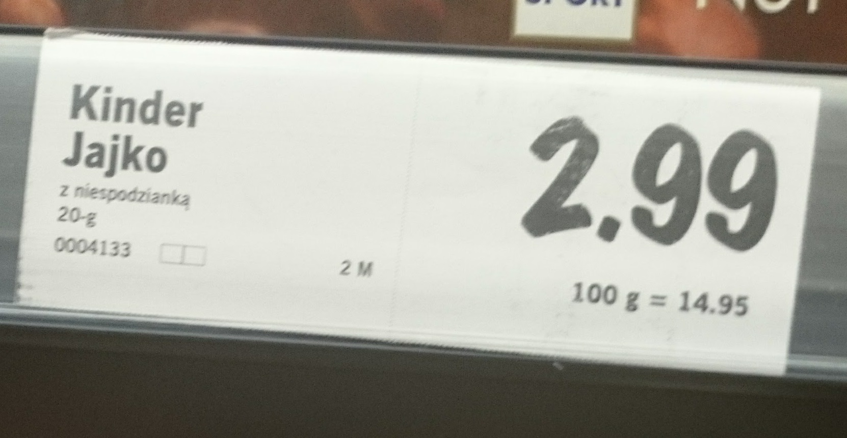 You get 20 grams of chocolate in the egg plus the toys for about 75 cents in today's US dollars. 2.99 zl.