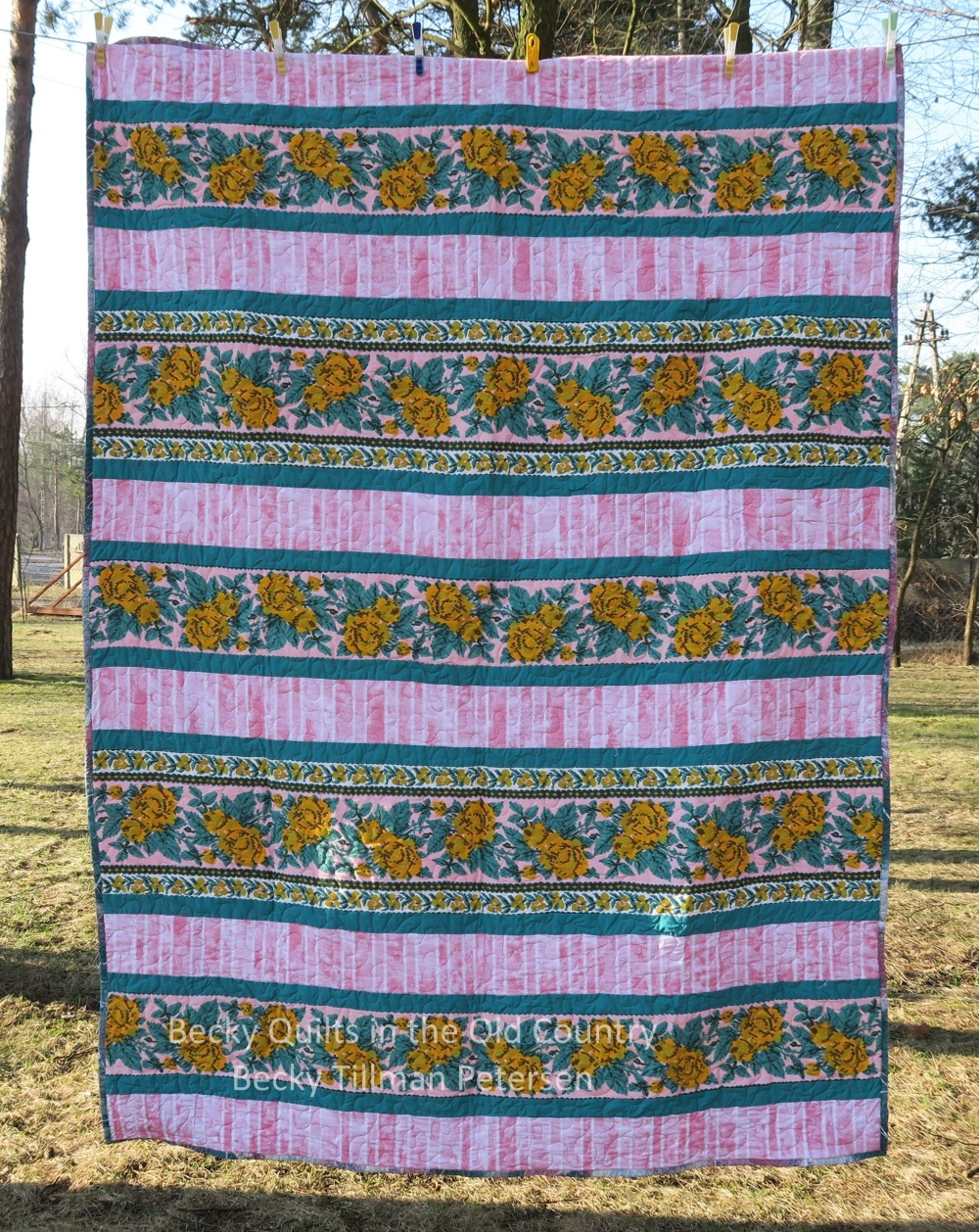 14 I used some heavier fabric (the floral) for this simple strippy quilt.