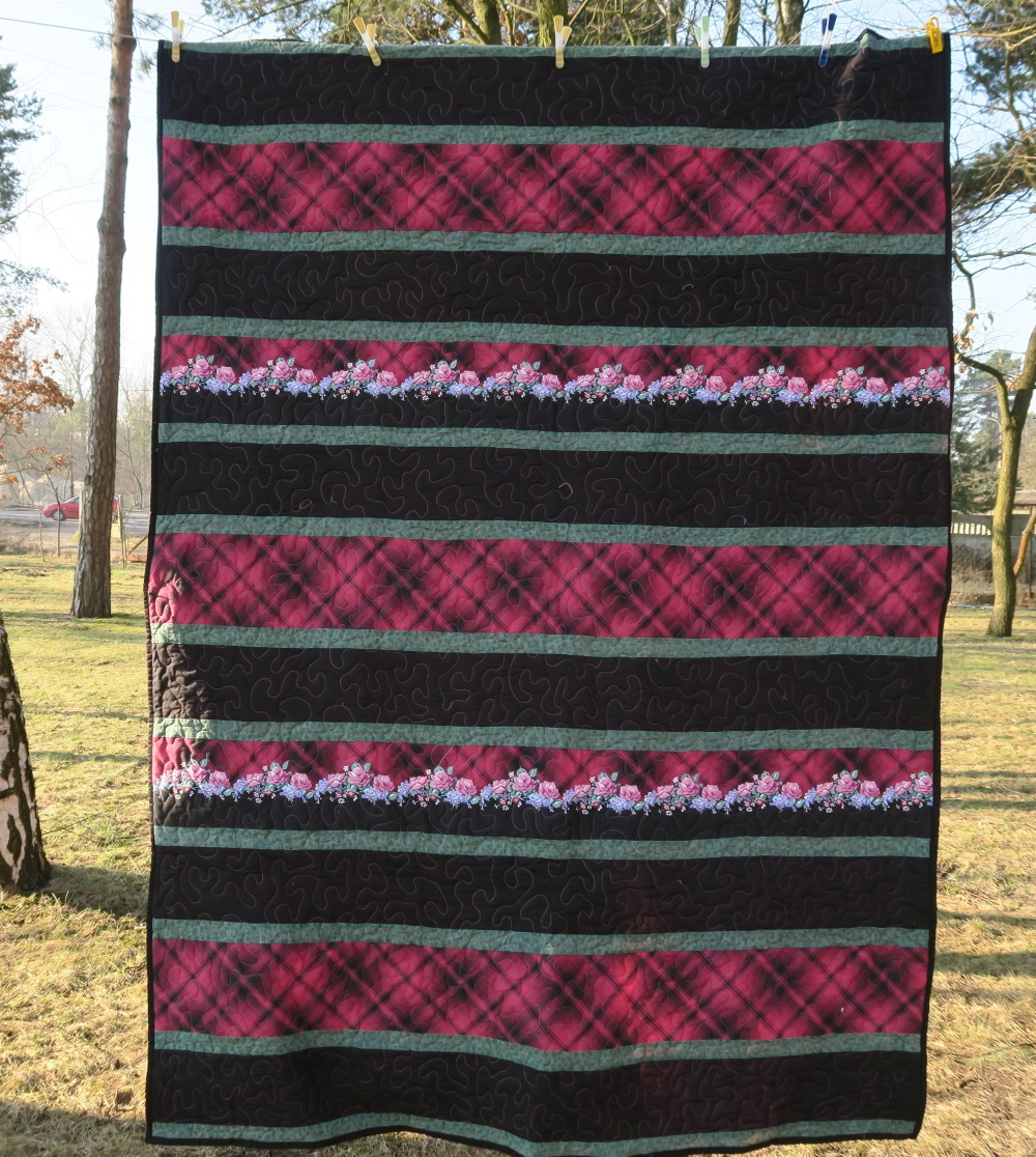 """16 Black and burgundy strippy. More of that beautiful but """"old"""" fabric from the late 80's."""
