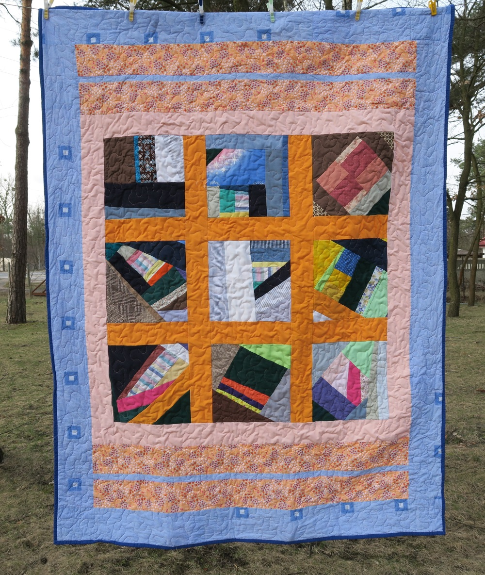 20 Crazy quilt. Another donated lap size top that I added borders to.