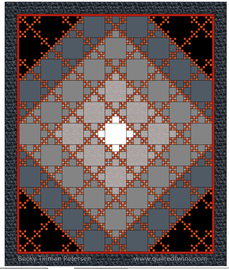 This is the diagram that I worked off of when making the tiny 9 patches and as I sewed together the quilt top.