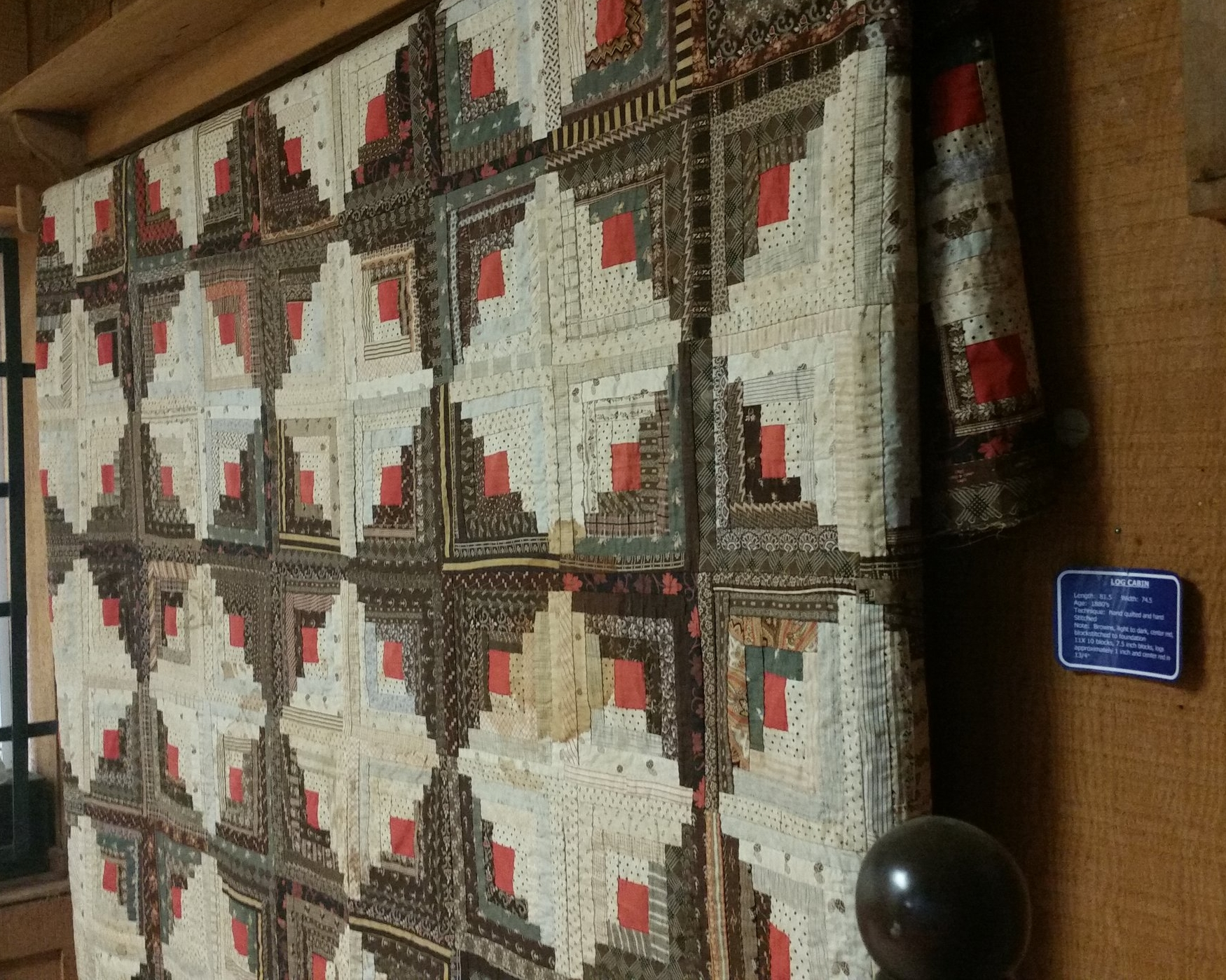 "This beautiful log cabin quilt is still hanging and was made in the 1880's. ""Wow"" was all I could say!"