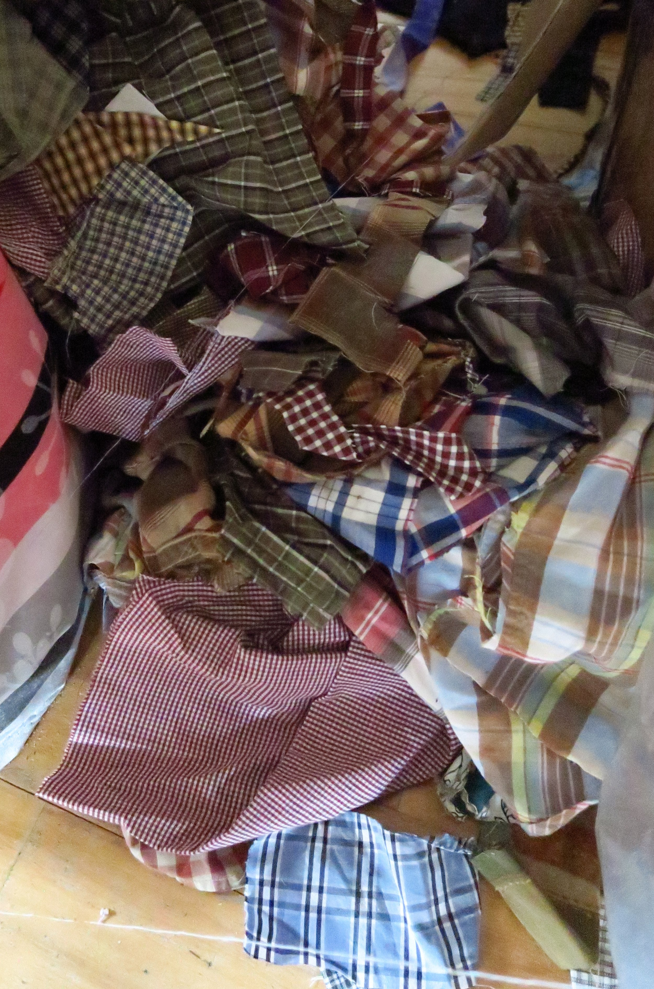 This beautiful bag of scraps is left over from the quilt I called Show Off. I love the plaids.