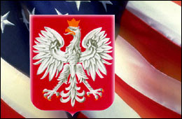 The Polish national emblem is the White Eagle. Here it is, over the top of an American flag - I found the clip on the 'web' and is probably used by a Polish-American group.