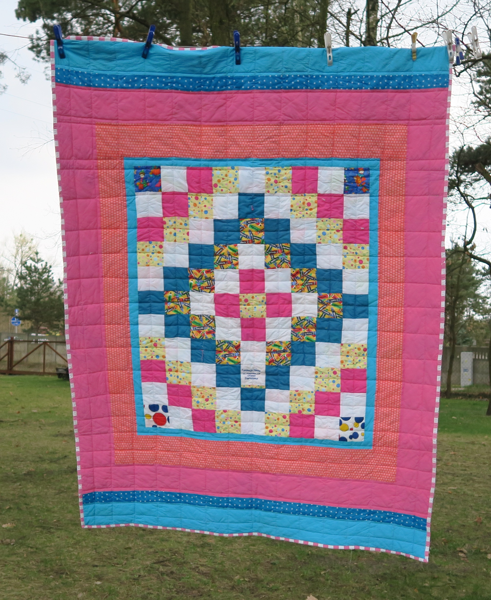 18. Center of the top donated by a friend in AZ. I added borders to it until it became a European twin size.