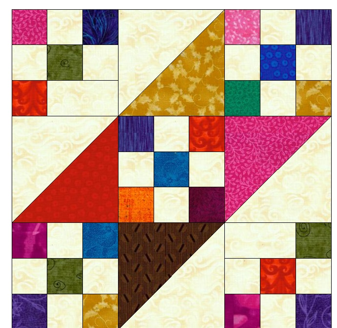 "This is the main block used in ""Blades of Color"". I kept the  second half of the HST to very light/cream and made the corner of the 9 patch light/cream as well."