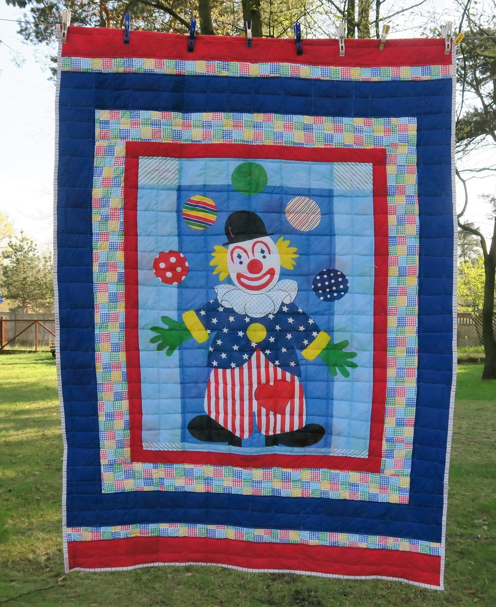 "22 Clown panel.  My sis found this in my ""stuff"" last summer. I love panels for quick but effective quilts."
