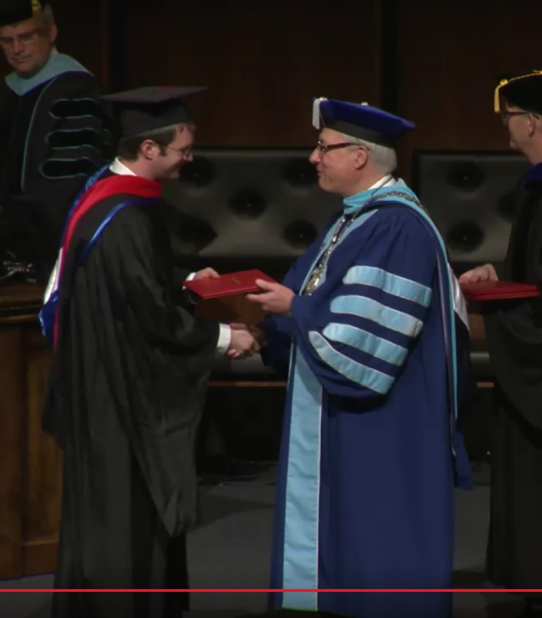 I took this as a screen shot while sitting at my computer here in Poland - graduation was taking place in Greenville, SC.