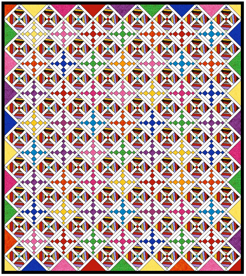 "Strings 2 quilt plan  This one includes 9"" strings blocks using 4 - 3.5"" squares of strings plus an alternating Chain block in various bright colors. White is the sashing and color that is supposed to bring order to this top. The brights should help spice it up!"