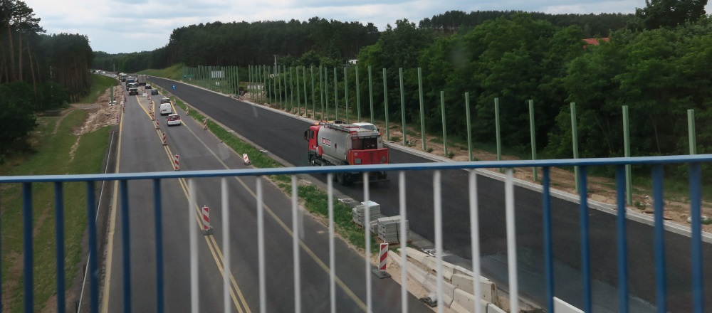 Road construction on the autostrada.