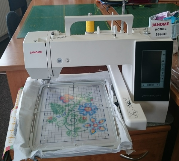 A smaller embroidery machine