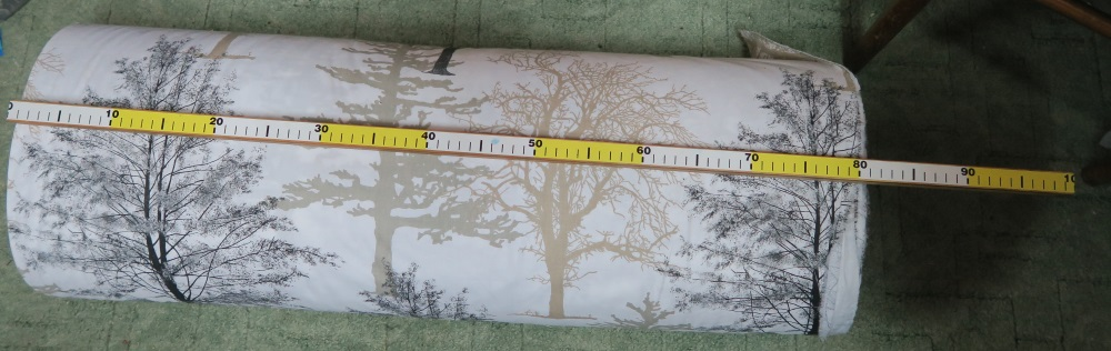 """This will be backing. I loved the trees as it makes a completely """"neutral"""" charity quilt! Plus, I just like the trees. They re quite large, however. This fabric is about 62"""" wide, so you can see that those trees are probably 12"""" across."""