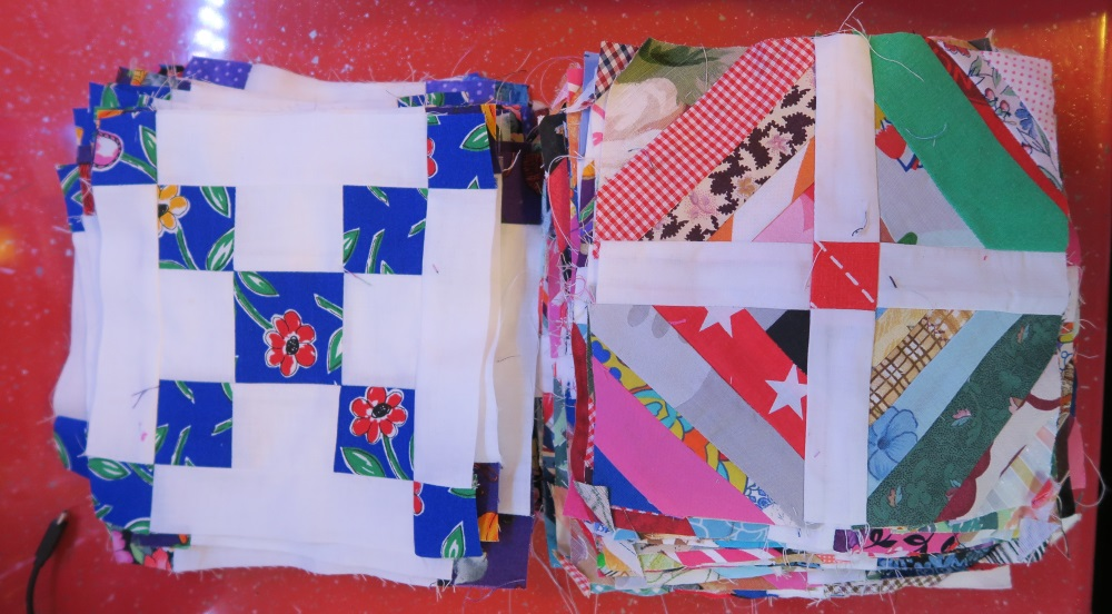 These are the blocks I've got so far.  The string blocks are enough for the quilt pictured below.