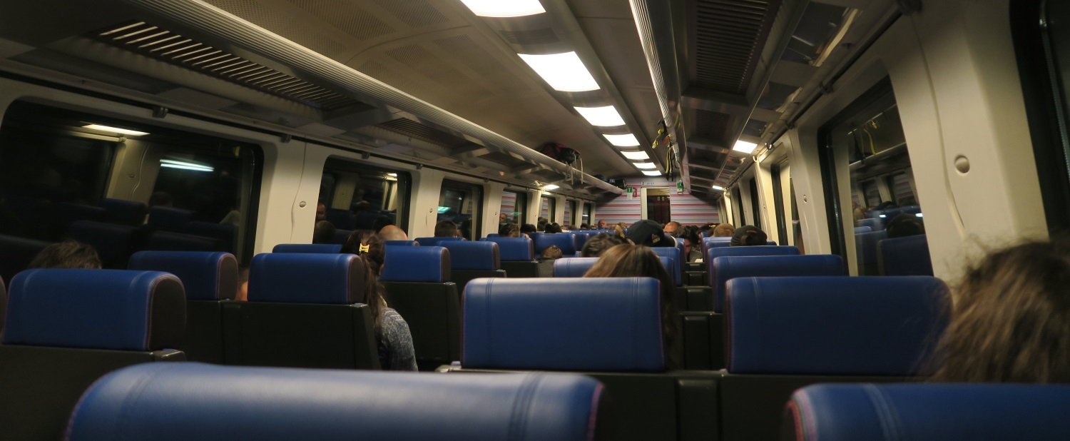 This is the inside of the train we took to the city center