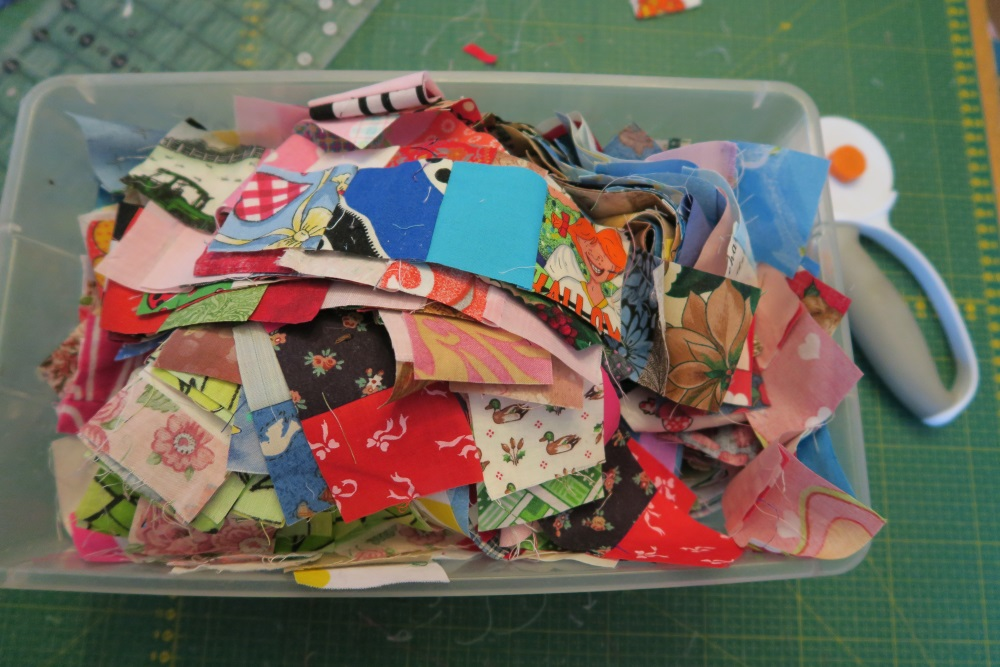 When I had finished cutting all the strips I had made into strip sets of 4 they pretty much fill this plastic shoe box.