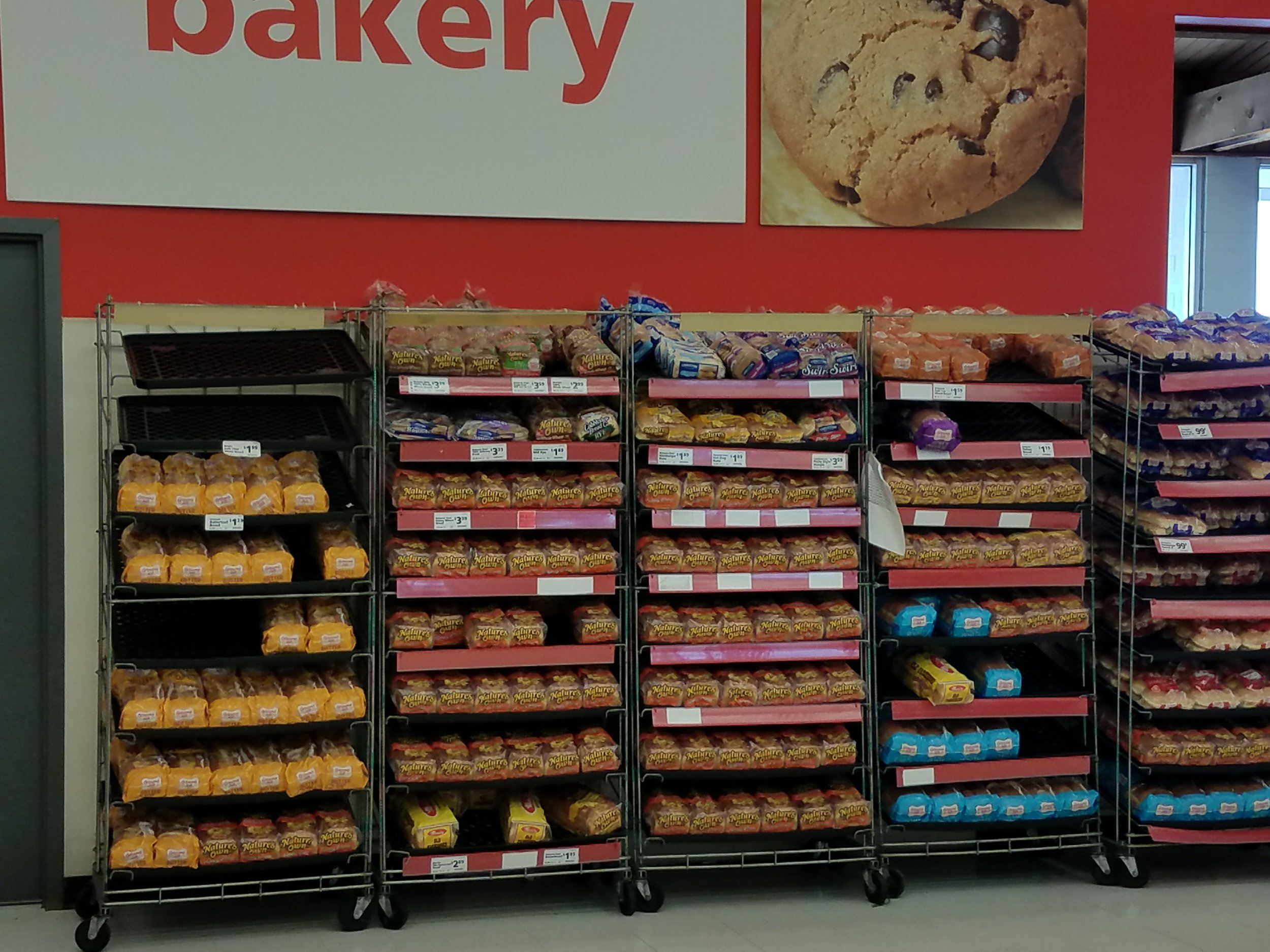 save-o-lot store's stock of bread (currently refilled) after irma