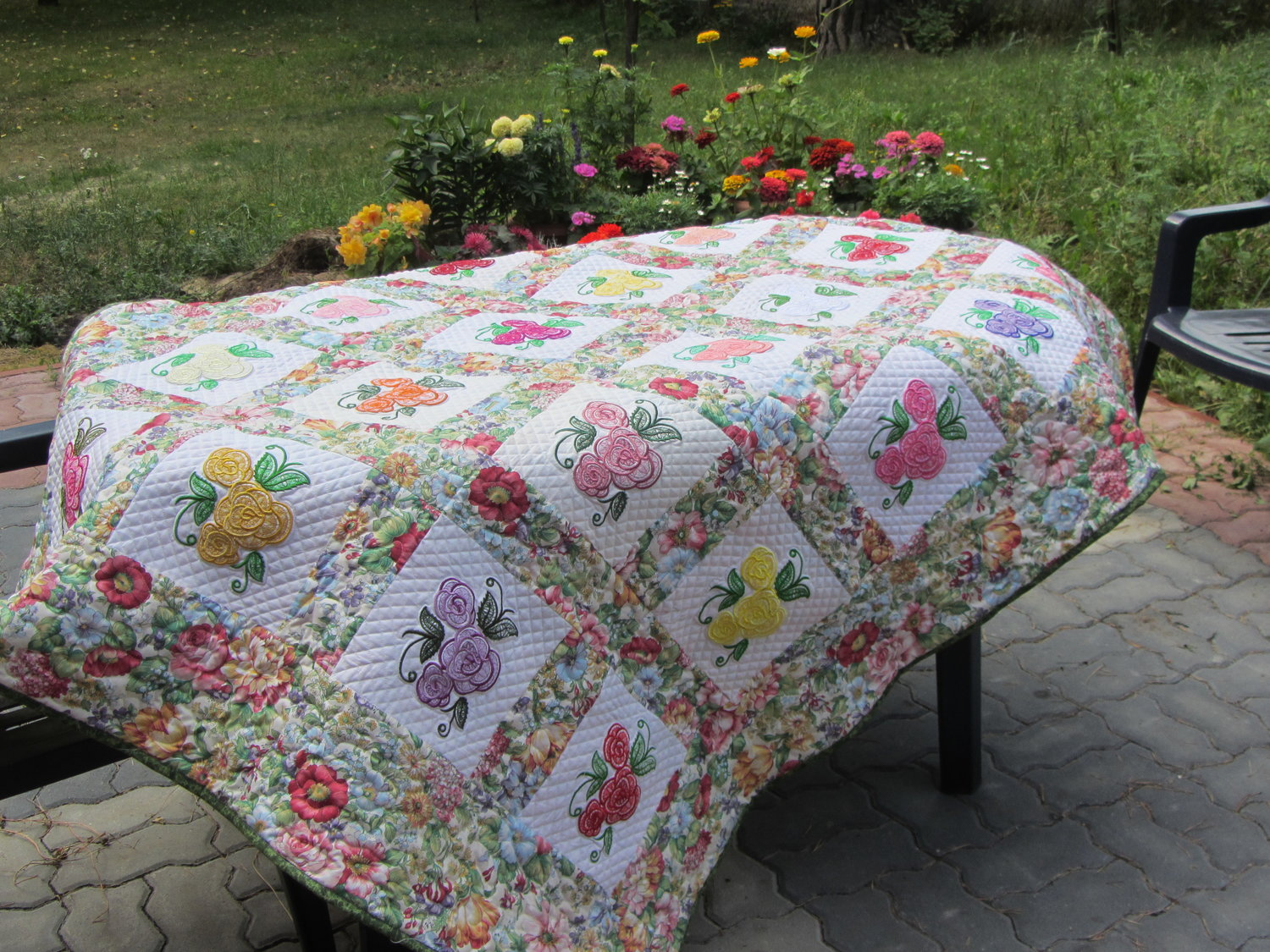 """Flowers for Mom""  embroidered quilt I made for my mom"