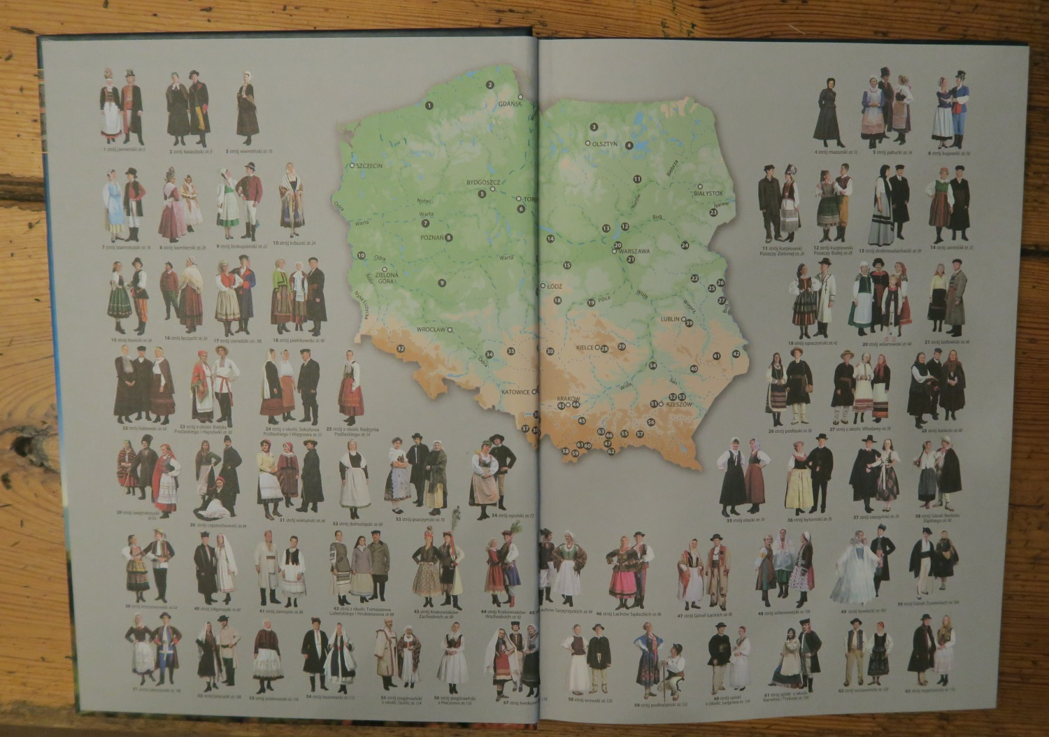 The picture in the middle is the map of Poland - and the various folk outfits that were typically found all over this varied country. We'll examine them one by one.